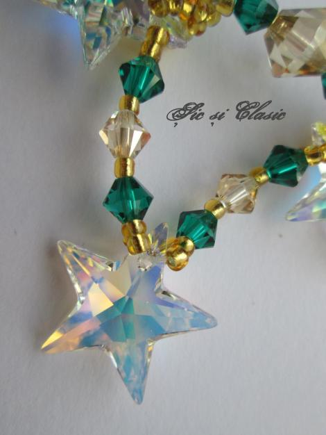 detaliu stelute AB si cristale bicon Swarovski