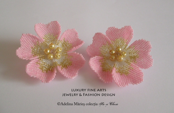 Seed beads jewelry pink flowers haute couture luxury fashion beading patterns