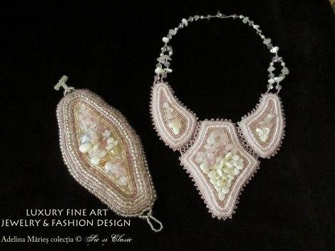 cuart roz bijuterii din pietre semipretioase