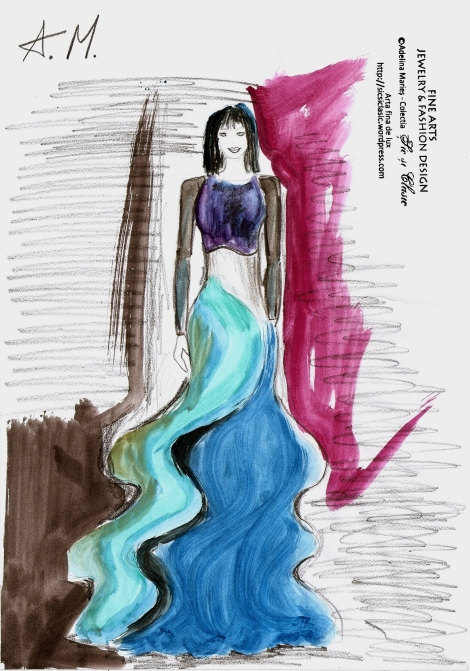 chiffon dress fashion sketch